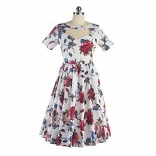 Floral Printed Vintage 50'S 60'S Women Swing Cocktail Prom Short Sleeve Dress