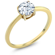 1.20 Ct Round Hearts And Arrows White Created Sapphire 10K Yellow Gold Ring