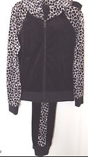 NEW JUICY COUTURE PLEATED HOODIE & JOGGER PANTS BLACK GRAY LEOPARD SUIT Sz S; M