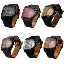 Oulm Luxury Men Military Army Casual Dual Time Quartz Leather Sports Wrist Watch