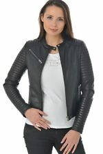 Jacket Leather Motorcycle Women Coat Black Genuine Lambskin Jacket XS-2XL FB243