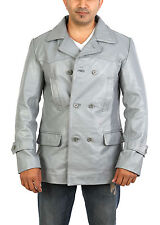 Mens GREY Reefer Leather Jacket Fitted Double Breasted Trench Military COAT NEW