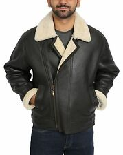 Mens Real Sheepskin FLYING Leather Jacket Brown Shearling B3 BOMBER Aviator COAT