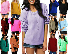 NEW LADIES OVERSIZED BAGGY JUMPER KNITTED WOMENS SWEATER CHUNKY THICK KNIT TOP