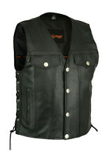 Mens Motorcycle Soft Black Leather Vest With Buffalo Nickel Concealed Gun Pocket