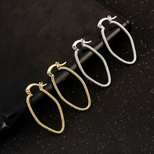 Yellow White Gold Filled Scrub Hoop Earrings Basketball Wives Oval Earings