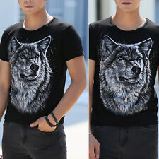 New Men's Round-neck Short Sleeve Slim Fit T-Shirts Tee Tops Lion Printes Tee DA