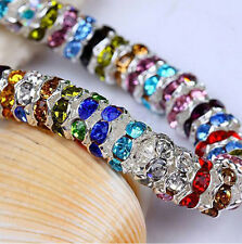 HOT 50Pcs 8mm Silver Plated Czech Crystal Spacer Rondelle Beads Charm Findings