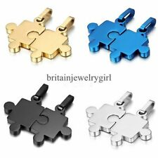 Men's Women's Stainless Steel Matching Puzzle Couple Pendant Necklaces Love Gift