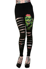 Banned Slasher Zombie Monster Leggings Psycho Gothic Emo Green UK 8 10 12 14