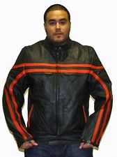 Mens Motorcycle Racer Style Leather Jacket with Orange Strips And Zippered Cuffs