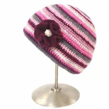 Ladies Kusan 100% Wool Crochet Beanie hat with detachable flower Pink (PK1320)