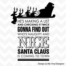 Santa is making a list vinyl wall sticker home shop Christmas naughty or nice