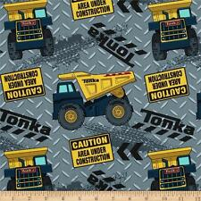 Patchwork Quilting Cotton Fabric TONKA TRUCKS Allover Material 50 x 55cm FQ New