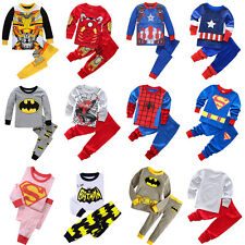 New Baby Kids Toddler Boys Clothes Super Hero Cartoon Sleepwear Pj's Pajama Set