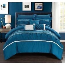 NEW Queen King Bed Teal Blue White Striped Pinch Pleat 10 pc Comforter Set NWT