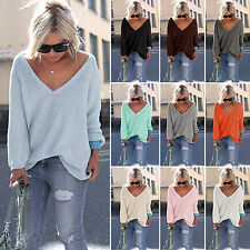 Womens Oversized V Neck Long Sleeve Loose Knitted Sweater Pullover Jumper Tops