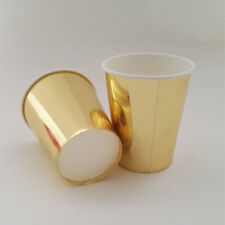 48pcs Gold/Silver Plain Paper Tableware Cups Wedding Baby Shower Party Drinking