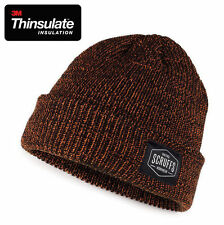 MEN SCRUFFS BLACK ORANGE VINTAGE BEANIE HAT WINTER WORK KNITTED THINSULATE LINED