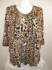 Susan Graver Size 2X Wheat Animal Printed Liquid Knit Tiered 3/4 Sleeve Top