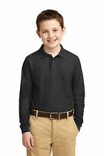 Port Authority Sport Shirt Y500LS Kids Long Sleeve Silk Touch Polo NEW S-XL