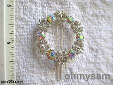 """NEW SILVER TONE  METAL HAIR CLIP/ CLEAR  MULTICOLOR STONE ROUND LAY  1 3/8 """""""