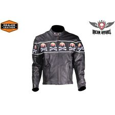 Mens Motorcycle Biker Leather Jacket With Skulls Flame and Reflective stripes