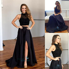 2 Pieces Black Slit Evening Dresses Formal Party Pageant Dress Prom Gown Sexy