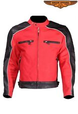 Mens Racer Motorcycle Red And Black  Naked Cowhide Leather Jacket