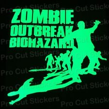 Large Zombie Dead Outbreak Glow in the Dark Luminescent Stickers Decals d3