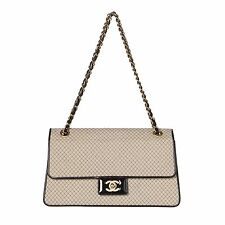 Chanel Beige and Black Two-Tone Large Flap Chain Bag.  Stunning!