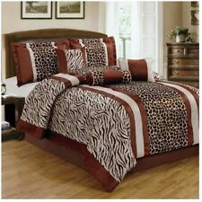 NEW Queen King Bed 7 pc Leopard Animal Zebra Stripe Brown Tan Comforter Set NWT