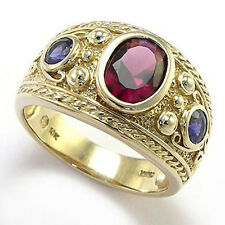 Men's Etruscan Byzantine Style Ring Iolite and Garnet 10k Yellow Gold #R1506