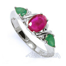 18k Solid White Gold Three-Stone Emerald and Ruby Ring 1.40ct. #R1457