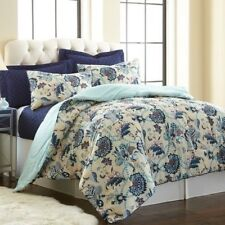 NEW Queen King Bed Aqua Navy Blue Ivory Floral 6 pc Comforter Coverlet Set NWT