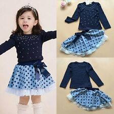 Child Baby Girls Dress Set Outfits Long Sleeve Blouse + Short Skirts 3-8Y
