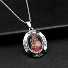 Religion Crystal Virgin Mary Portrait Oval Charm Pendant Necklace Chain Jewelry