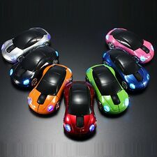 1x Cool 2.4G LED Light Car Shape Wireless Optical Mouse Mice&USB Receiver For PC