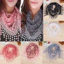 Beautiful Designer Summer Triangle Lace Floral Rose Scarf Shawl with Tassel