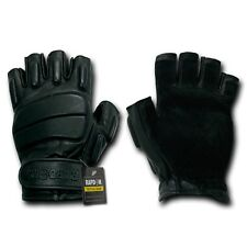 Rapid Dom Half Finger Riot Gloves Glove Tactical Patrol Army Military Black