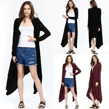 New Women's Long Sleeve Knit Cardigan Outerwear Casual Open Front Draped Sweater