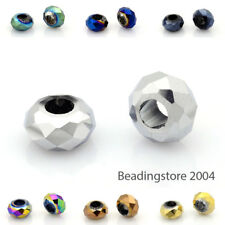 10pcs Full Plated Electroplate Large Hole Rondelle Faceted Glass Beads 14x8mm