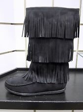 NEW Women's SODA Import-S Faux Suede Triple Fringe Mid-Calf Flat Moccasin Boot