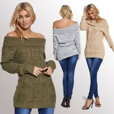 WOMENS LADIES CABLE KNIT STRETCH LONG SLEEVE KNITTED OFF SHOULDER JUMPER DRESS