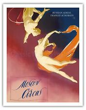 Moscow Circus Aerial Trapeze Acrobats Vintage Theater Art Poster Print Giclée