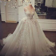 New Gorgeous Lace Applique White/Ivory Wedding Dress Bridal Gown Wedding Gown