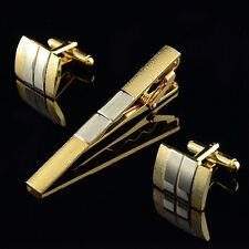 Men's Frosted Silver Gold Plated Cufflinks Tie Bar Clasp Clip Set Gift Nimble