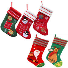Personalised Embroidered Christmas Santa Snowman Reindeer Stocking Ivory Top
