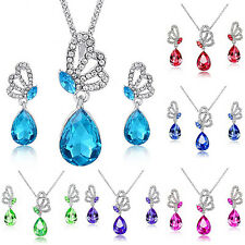 Womens Butterfly Rhinestone Crystal Pendant Necklace Earrings Jewelry Set Nimble
