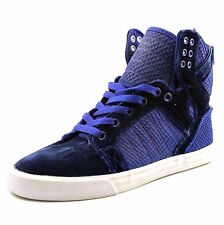 Supra Women's Skytop Royal White Blue Laced Velvet Trainer Skate Sneaker SW18018